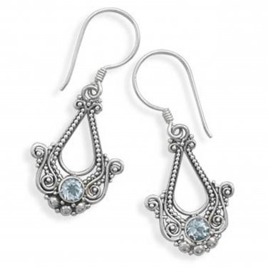Ornate Sterling Silver Blue Topaz Earrings