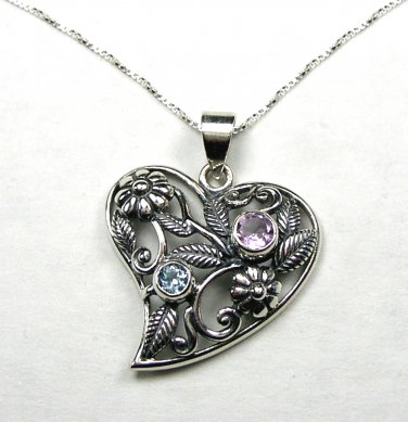 "Vintage Style Sterling Silver Heart Pendant with an Amethyst and Blue Topaz and 18"" chain necklace"