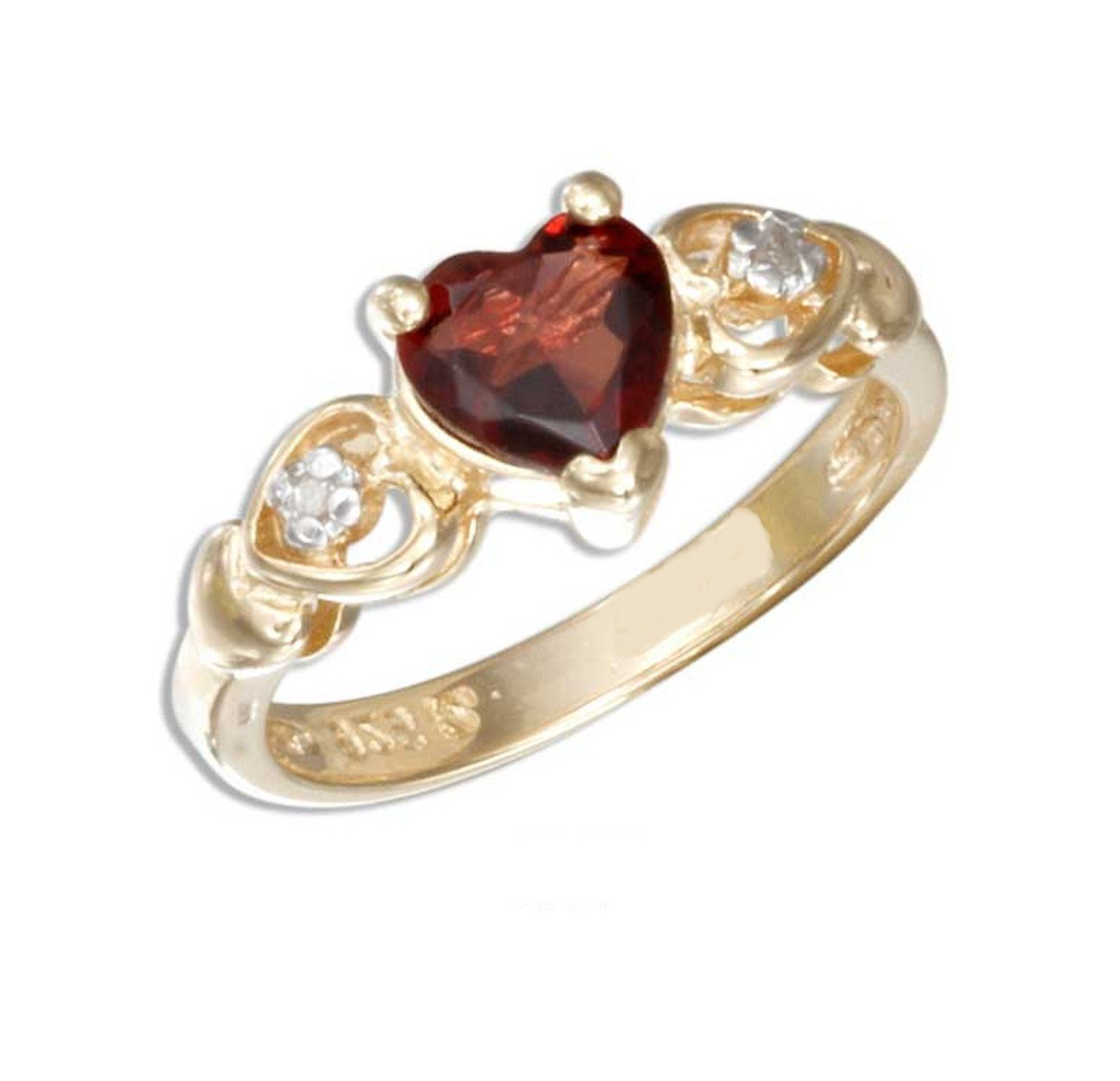 Adorable 18 KT gold vermeil ring with a garnet heart and diamond accent stones size 5