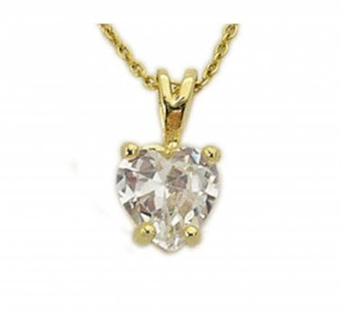 "18 kt Gold Vermeil Heart shaped Cubic Zirconia stone Pendant with 18"" Chain"