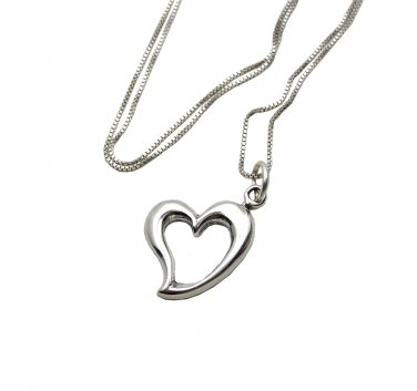 Cute Sterling Silver Heart Charm and Chain necklace