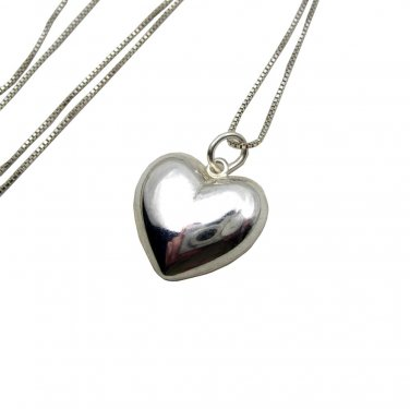 Lovely Sterling Silver puffed Heart Charm and Chain necklace