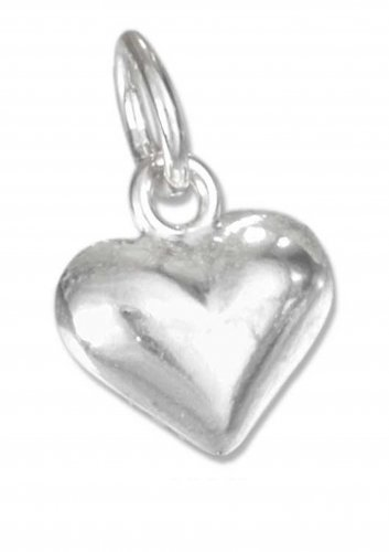 Cute Sterling Silver Small Puffed Heart Charm