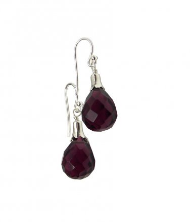 Sterling Silver Amethyst Briolette Dangle Earrings