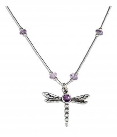 Sterling Silver Dragonfly Pendant with Amethyst gemstones necklace