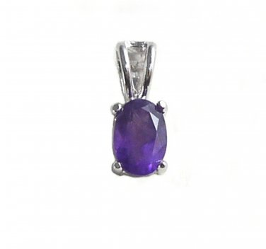 "Sterling Silver Oval Amethyst gemstone Pendant with 18"" chain necklace"