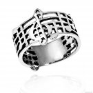 Sterling Silver Musical Score Ring Size 8