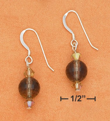 Sterling silver Smoky brown Quartz earrings with Swarovski crystals