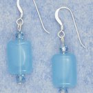 Elegant Sterling Silver Blue Chalcedony Earrings with Swarovski crystals
