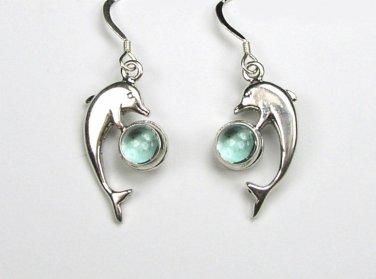 Sterling Silver Blue Topaz Dolphin Earrings