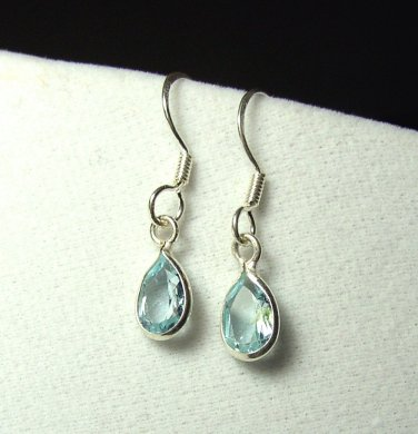 Sterling Silver Blue Topaz Tear drop dangle Earrings
