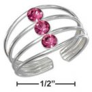 Pretty Sterling Silver highly polished Toe Ring with 3 Pink Crystals
