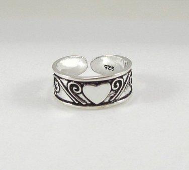 Pretty Heart & Swirls Sterling Silver Toe Ring