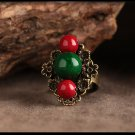 Chinese style vintage red green stone rings,adjustable size floral jewelry rings