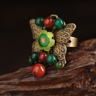 Chinese style butterfly rings green red beads gold butterfly rings for women adjustable size