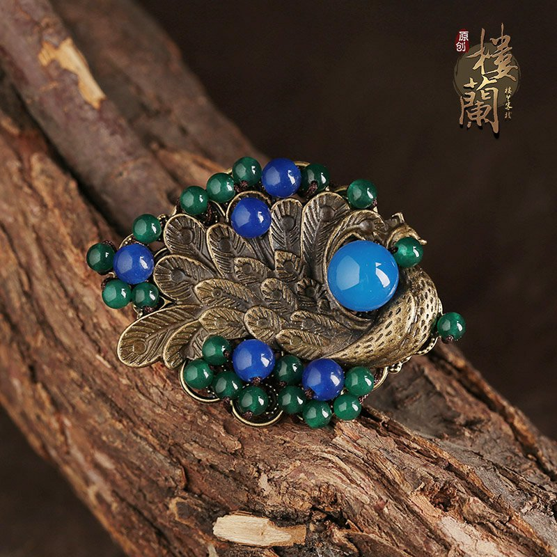Chinese style gold phoenix rings, blue agate jewelry rings, traditional design rings for women