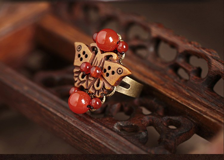 Chinese style wood butterfly rings,red agate rings,traditional jewelry rings for women