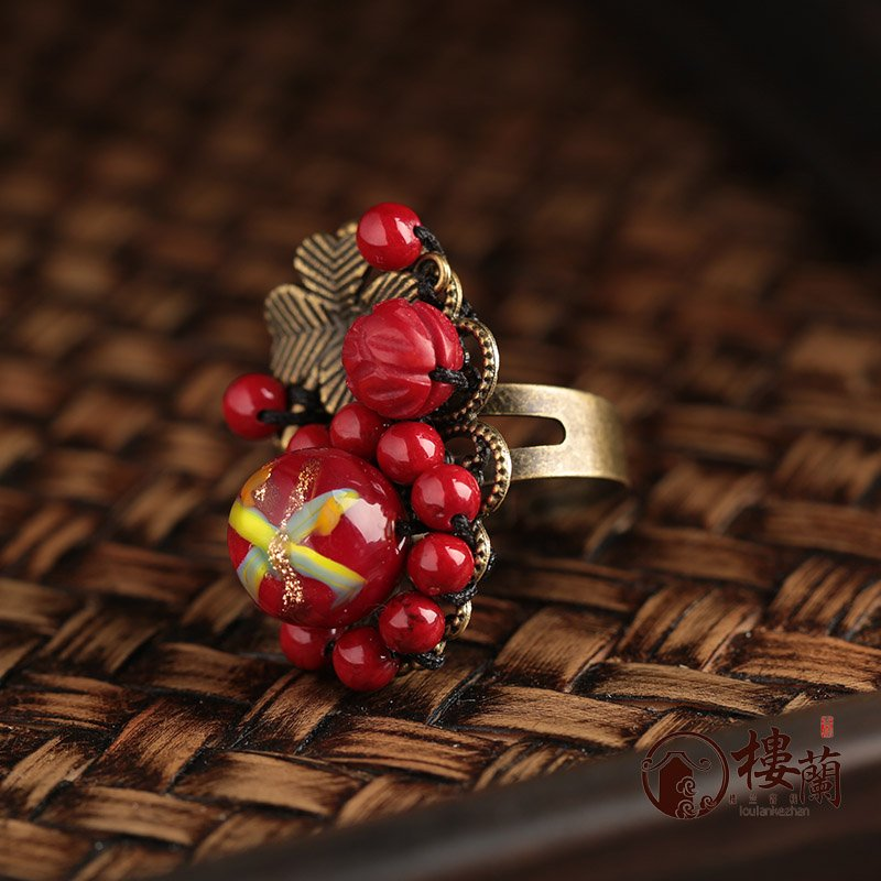 Chinese style red coral rings women agate jewelry rings traditional design jewelry accessory