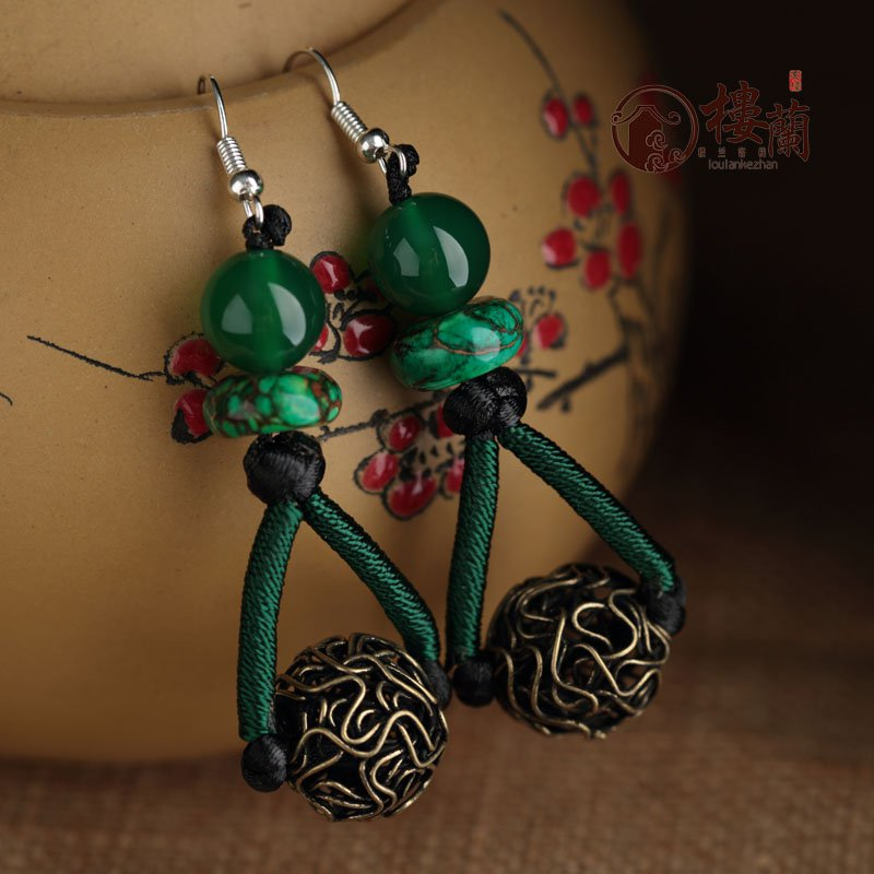 Chinese green agate silver earrings traditional design handmade earrings women jewelry rings