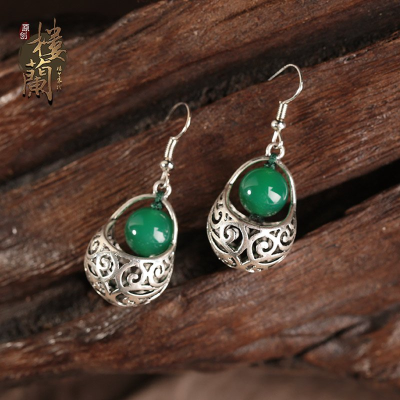 Chinese style green agate rings, traditional design fashion jewelry rings for women