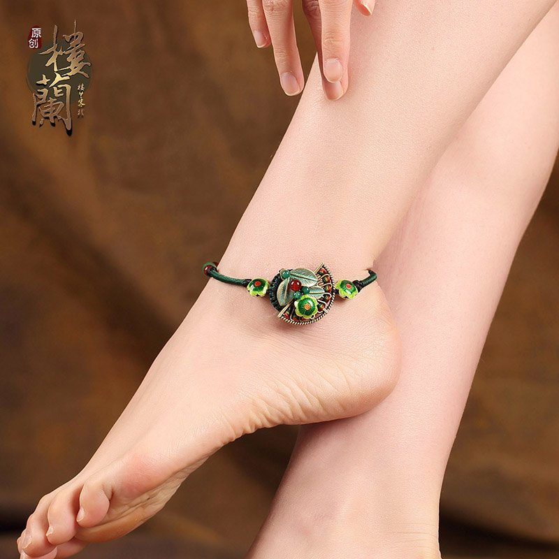 Chinese style barefoot bracelet green agate ankle bracelet traditional design foot braclet