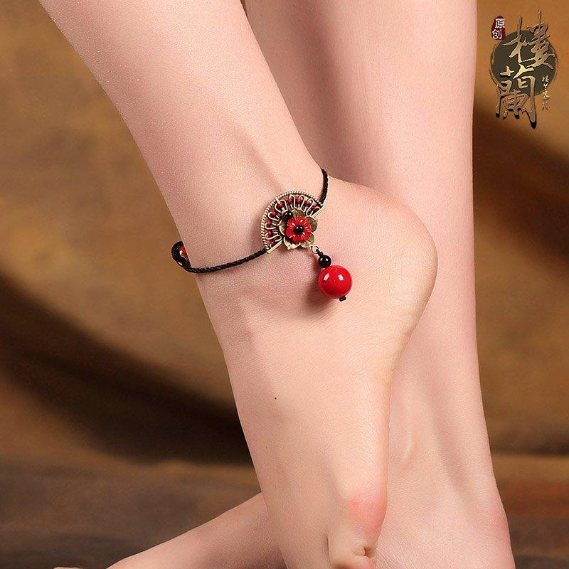 Chinese style hand weaved foot bracelet traditional fan design barefoot jewelry, ankle bracelet