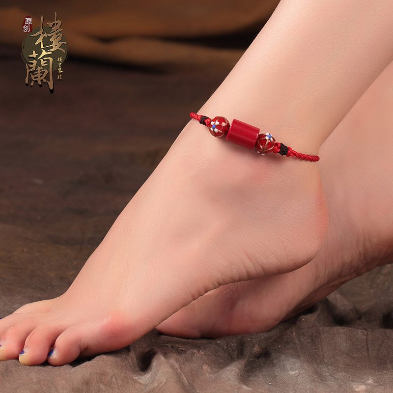 Chinese style hand weaved red barefoot bracelet traditional red coral ankle bracelet