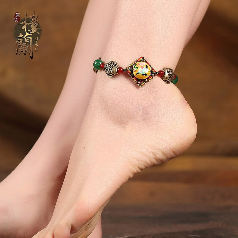 Chinese style colorful barefoot bracelet traditional design agate ankle bracelet
