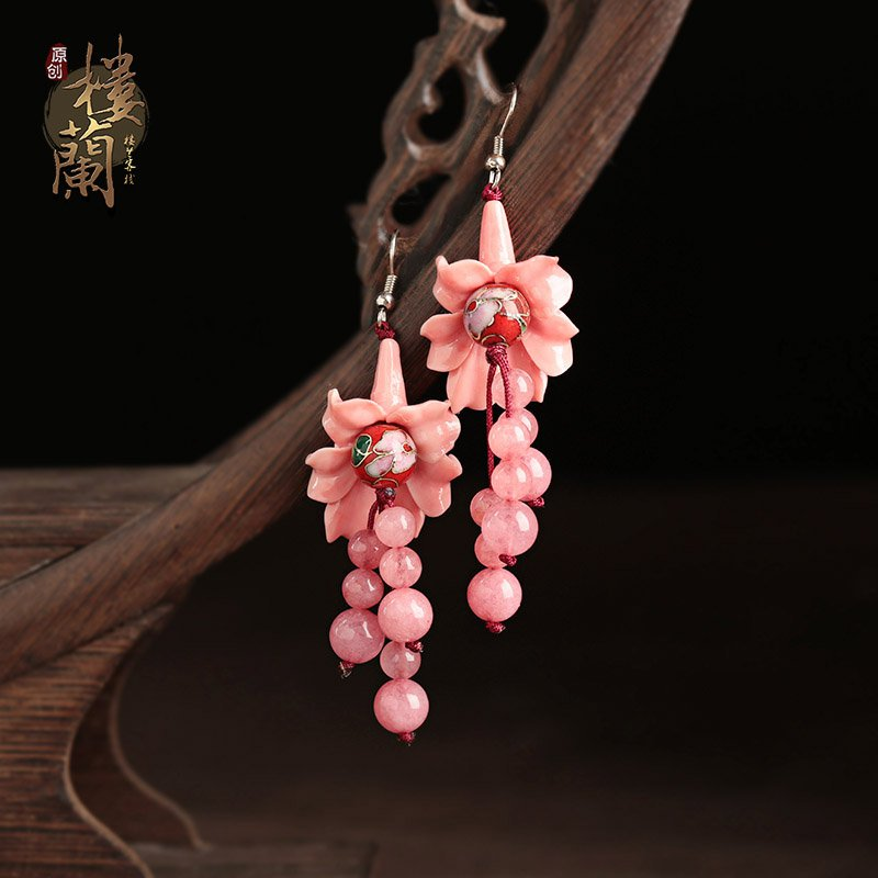 Chinese style craved floral earrings  cloisonne ear drop  women jewelry earrings