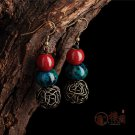 Chinese red blue phoenix  stone earrings Ceramics ear drop women jewelry earrings