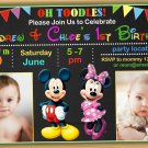 Mickey mouse Birthday Invitation,mickey mouse twins invitation,siblings invitation
