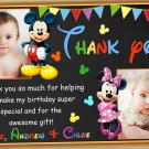 Mickey mouse thank you card,mickey mouse twins thank you card,siblings thank you card
