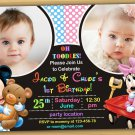 Baby Mickey mouse Invitation,Baby mickey mouse twins invitation,siblings invitation