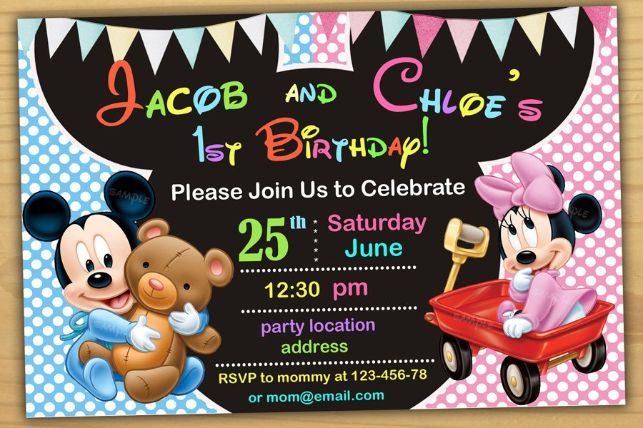 Baby Minnie mouse InvitationMinnie mouse first birthday – Minnie and Mickey Birthday Invitations