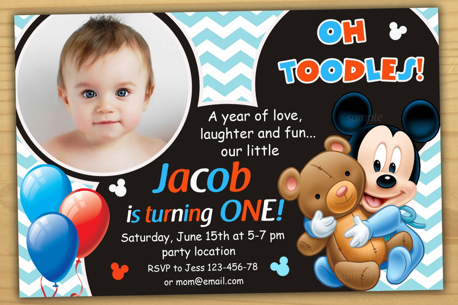 Baby Mickey Mouse Invitation Mickey Mouse First Birthday Invitation