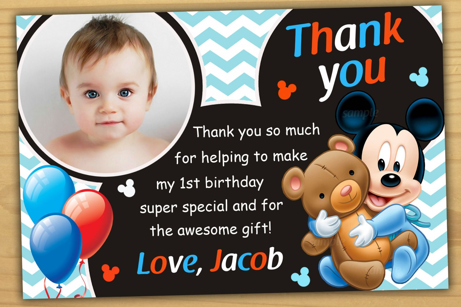 Baby Mickey Mouse Thank You Card Baby Mickey Mouse Chalkboard Mickey