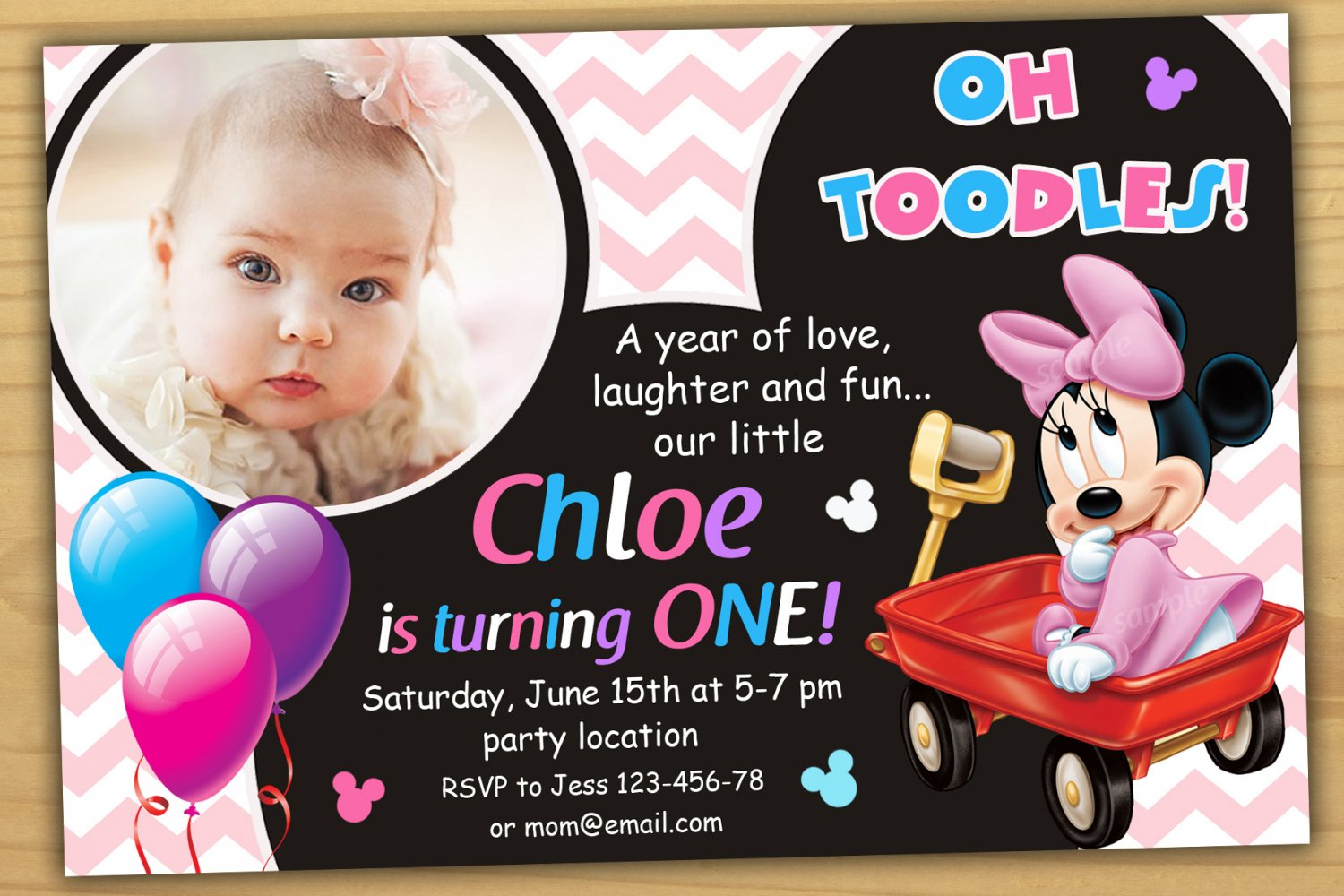 Baby Minnie Mouse Invitation Minnie Mouse First Birthday Invitation