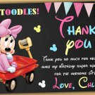 Baby Minnie mouse thank you card,Baby Minnie mouse chalkboard,Minnie mouse thank you card