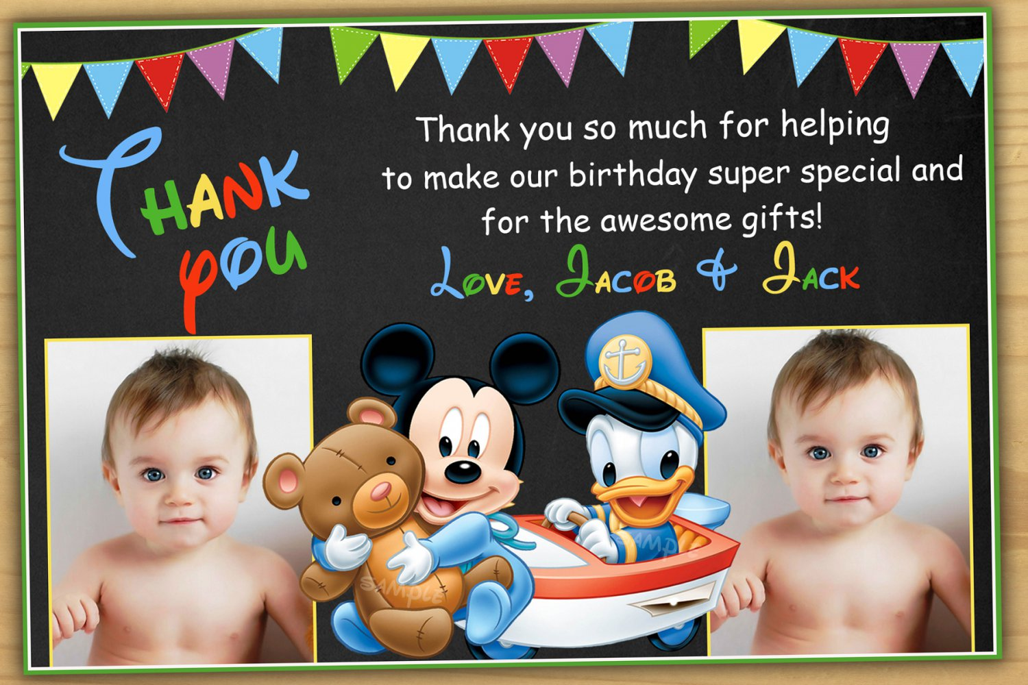 Baby Mickey Mouse Thank You Card Baby Mickey Mouse Twins Thank You
