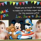 Baby Mickey mouse thank you card,Baby mickey mouse twins thank you card,siblings thank you card