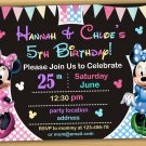 Minnie mouse Birthday Invitation,Minnie mouse Invitation,Minnie mouse chalkboard invitation