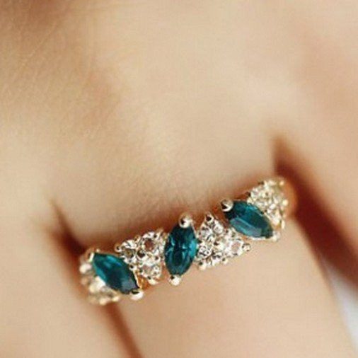 $5 Zinc Alloy Trendy Green Crystal Ring