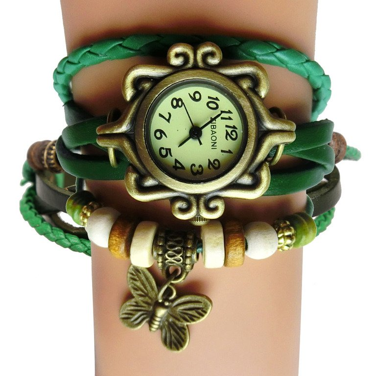 $10 Antique Leather Butterfly  Bracelet Watch