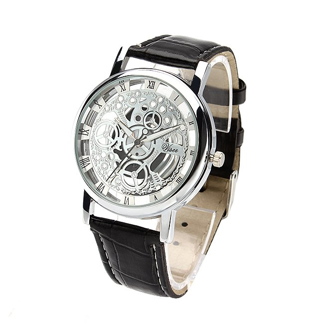 $10 PU Leather Strap Mechanical Watch