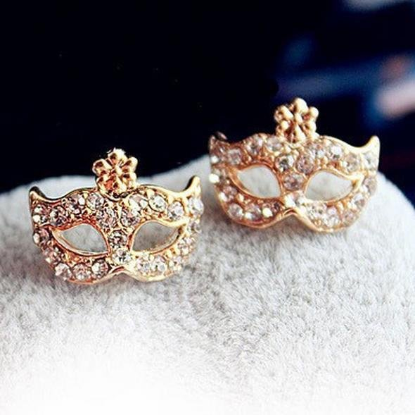$5 Full Rhinestones Magic Mask Stud Earrings