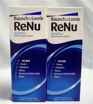 Lot of 2-12oz RENU Multiplus No Rub Contact Solution