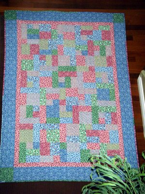 "Pastel Flower Print Quilt - Pink, Blue, Green Colors - 59"" x 85"""