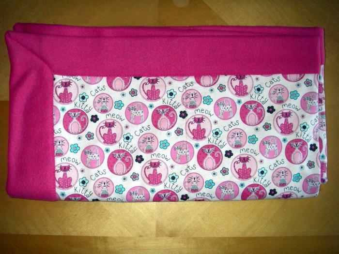 "Cat Lovers - Fleece & Flannel Blanket - Pink, Black, White - 47"" x 52"""