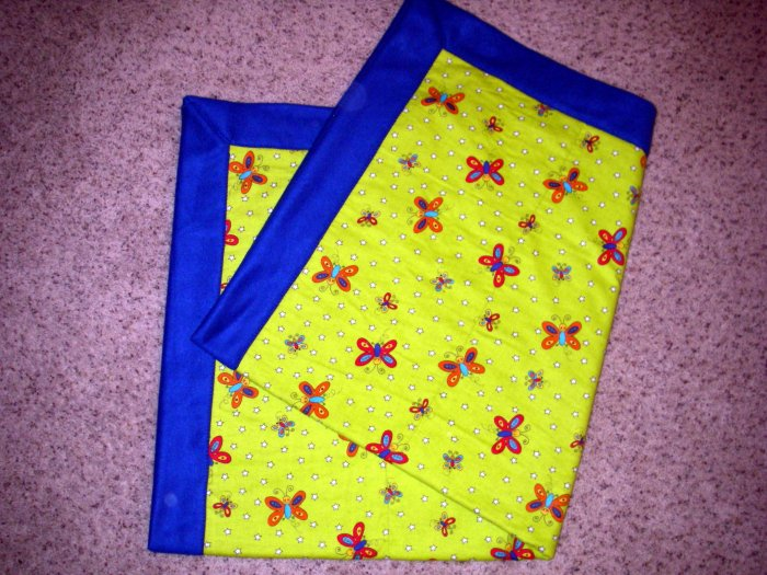 "Butterfly and Stars - Fleece & Flannel Blanket - Bright Blue, Lime Green - 46"" x 52"""