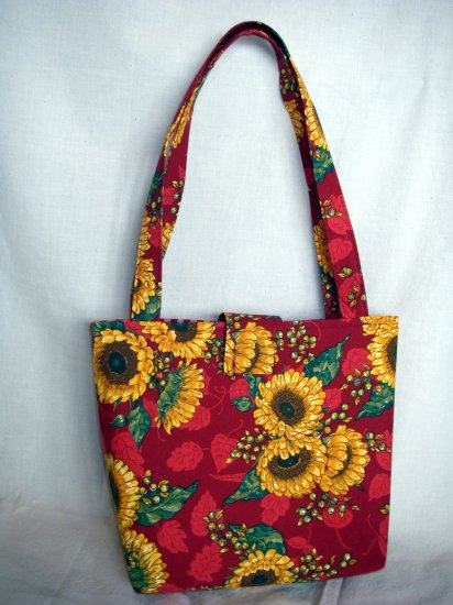 Structured Medium Tote, Diaper bag, Knit or Sew Tote, Carry all - Red with Sunflowers